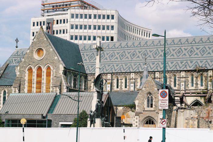 地震の爪痕残るクライストチャーチ大聖堂